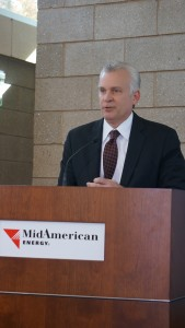 MidAmerican Energy CEO Bill Fehrman explains new wind energy project at Iowa State Fair grounds. Photo by Ken Root.